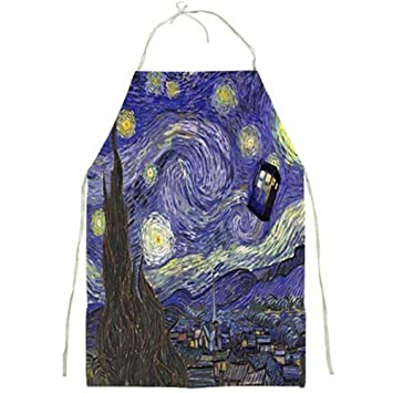 Tardis Starry Night Van Gogh Apron Full Print Apron