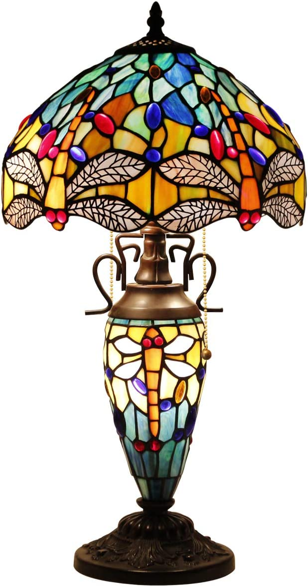 Tiffany Table Lamp with Stained Glass Night Light Base 3 Light Lotus Style Table Lamps W12H 22 Inch for Living Room Reading Lighting Coffee Table S220 WERFACTORY