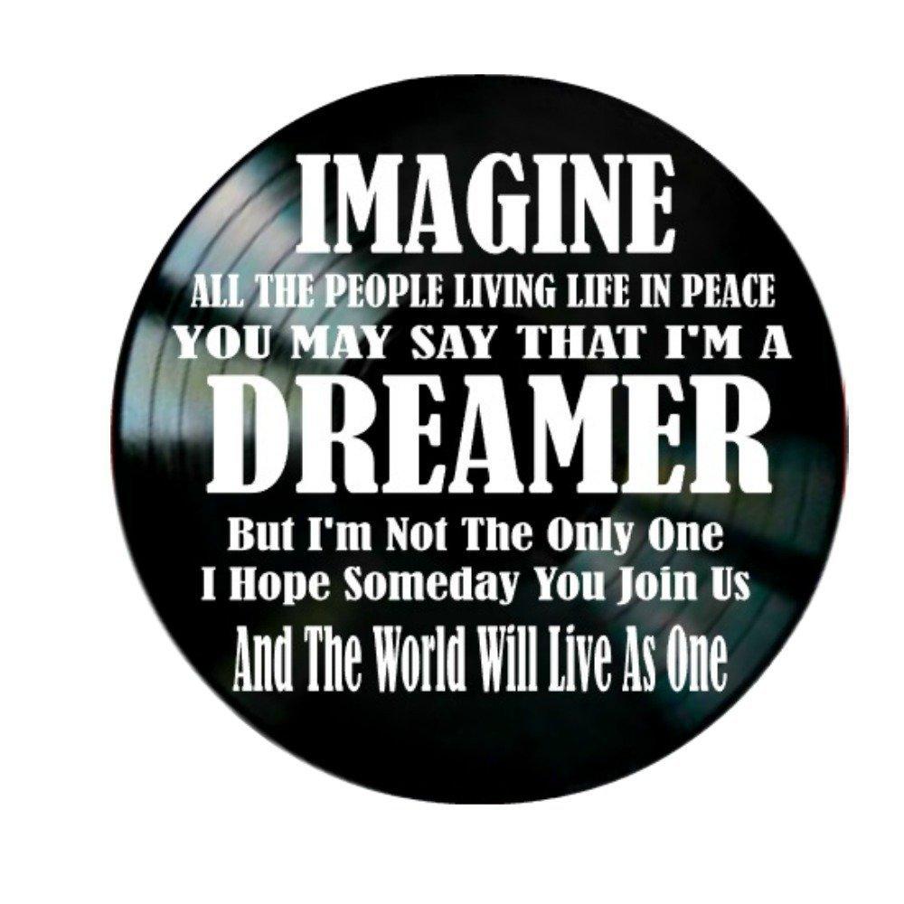 John Lennon Imagine song Lyrics on a Vinyl Record Album Wall Decor