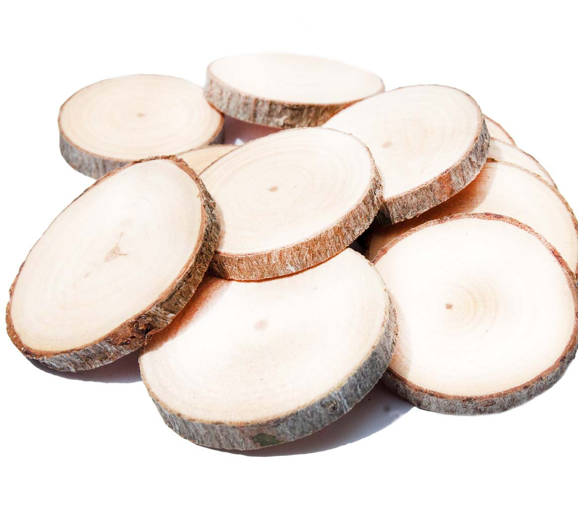 10 Pack Natural Camphor Wood Slices, Unfinished Wood Rounds Rustic Tag Slices for Cupcake Stand, Wedding Centerpiece, DIY Craft, Drink Coaster (Small)