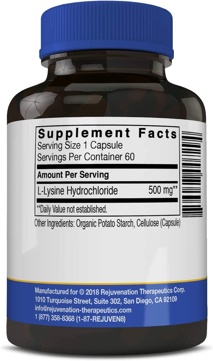 Rejuvenation Therapeutics – L-Lysine, Supports Healthy Skin 60 Vegan Capsules, 500mg