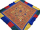 NovaHaat Banjara Yellow Tribal Embroidery Tapestry - Vintage Hand Embroidered Huge Ethnic Indian Wall Hanging with Multi-color Floral Motifs and Extensive Mirror Work ~ 82'' x 75''
