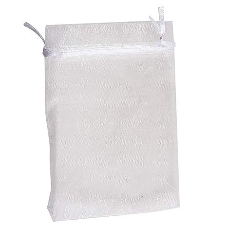 SeaStart - 100 Bolsas de Organza Blancas de 15 x 10 cm para ...