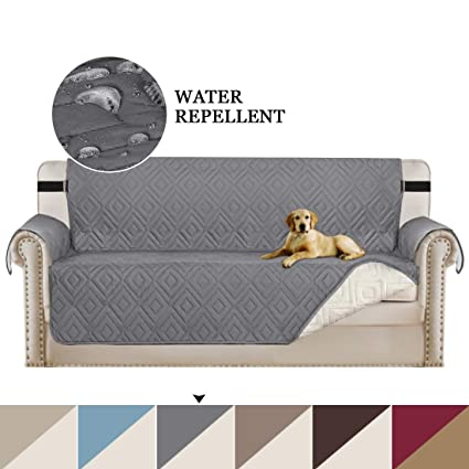 Sofa Covers Grey Couch Slipcovers Reversible Quilted Furniture Protector Cover with Elastic Adjustable Straps, Perfect for Kids, Dogs and Cats, Seat ...