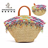 Straw Bag Tote - Angedanlia Handmade Handbag Summer Beach Woven Shoulder Bag Purse for Woman Lady Girl 3786 (Beige-7)