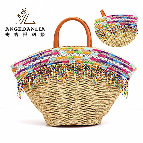 Straw Bag Tote – Angedanlia Woman Handmade Bag Summer Beach Woven Shoulder Bag 3786 (Beige-7)