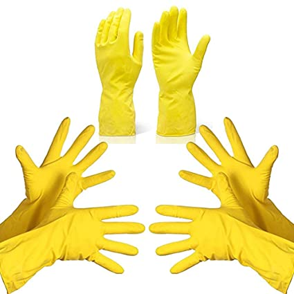 DeoDap Rubber Hand Gloves Reusable Washing Cleaning Kitchen Garden (3 Pairs_Large) (Color May Vary)