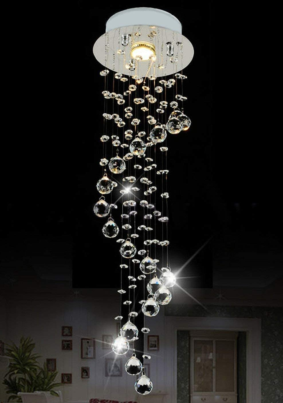 SILJOY Raindrop Chandelier Lighting Modern Crystal Flush Mount Ceiling Lighting D7.9″ x H29.5″