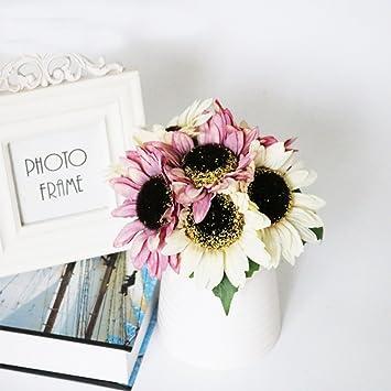 Flores artificiales de flores artificiales de flores artificiales de girasol para decoración del hogar, flores, ramo de flores de boda: Amazon.es: Hogar