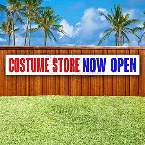 Costume Store Now Open Extra Large 13 oz Heavy Duty Vinyl Banner Sign with Metal Grommets, New, Store, Advertising, Flag, (Many Sizes -