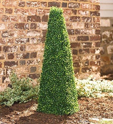 Plow & Hearth Small Faux Boxwood Shrub Pyramid, in Green