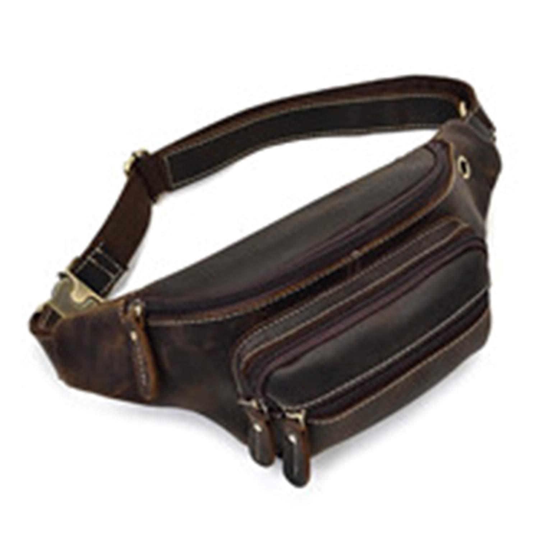 naivety Durable Waist Bag Men Military Fanny Waist Pack Belt Hip Bum Bag Pouch Waist Bag Men Cowhide Leather Waist Bags(DBN,OneSize)