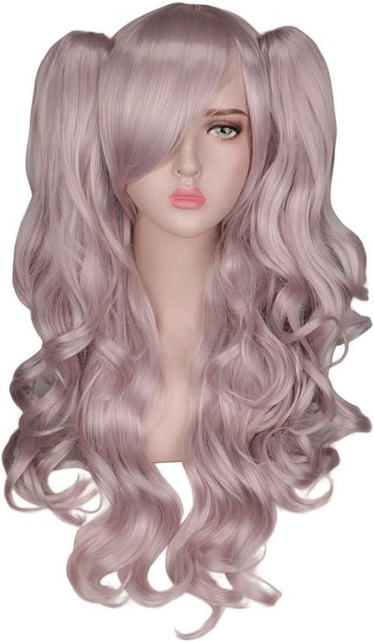 DER Peluca Ondulada Larga Cosplay Mujer Púrpura Claro Alta Temperatura Pelucas de Fibra sintética 2 Colas de Caballo (Stretched Length : 26inches)
