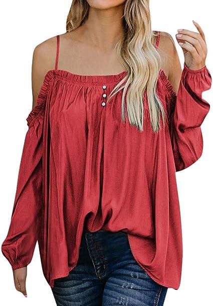 Qingsiy Camisetas Manga Larga Cuello Redondo Anchas Mujer Blusas Elegantes Camiseta Largas Chica Camisas Dama Fiesta Verano Remeras Blusones Top Casual Personalizadas: Amazon.es: Ropa y accesorios