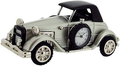 Miniature Old Fashioned Car Novelty Desktop Collectors Clock, Silvertone 9861