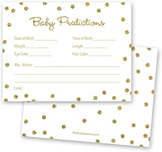 MyExpression.com 48 Cnt Gold Glitter Graphic Dots Baby Prediction Cards - White