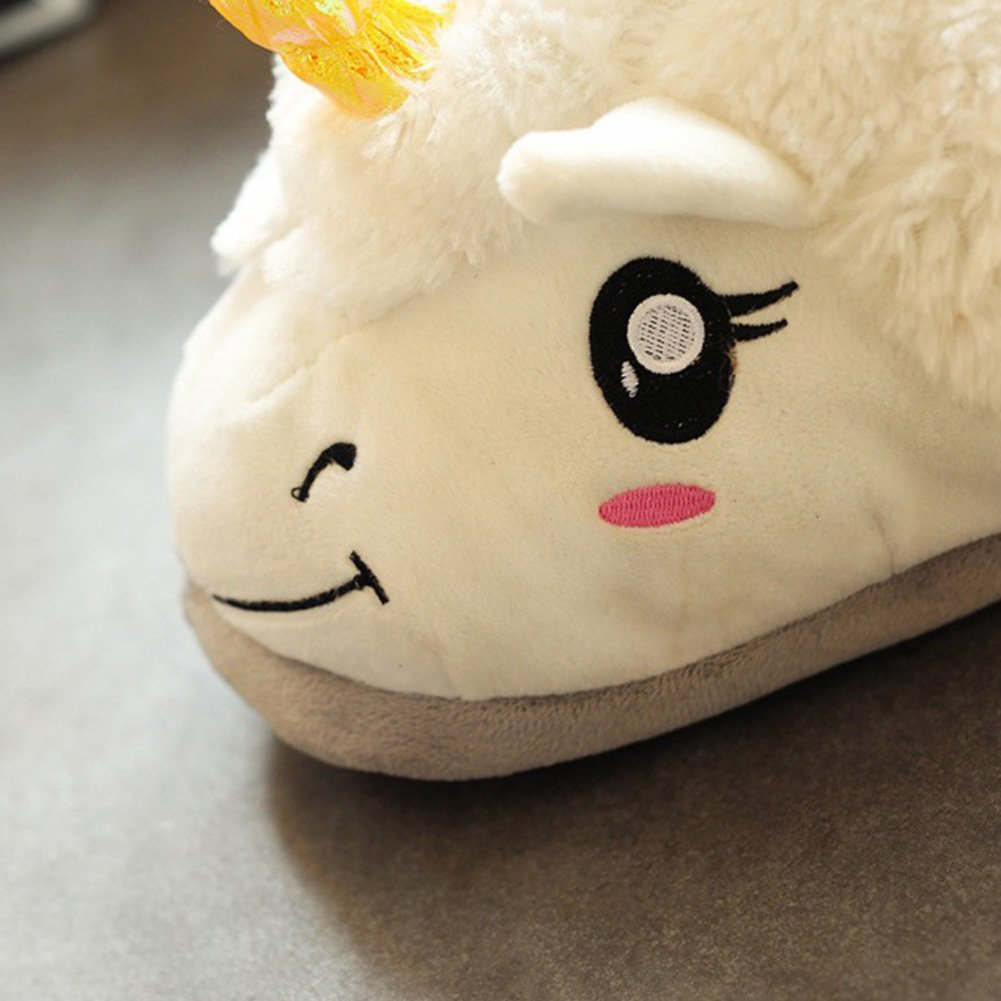 Tueenhuge Unicorn Slippers Winter Cute Plush Slippers Shoes Homewear One Size