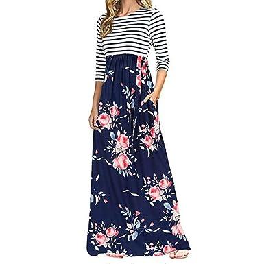 Longra Damen Kleider Frühling-Herbst Kleider Maxikleid Streifen-Blumen Kleid  Langarm Rundhals High Waist Lang Kleid Maxikleider Damen Schöne Kleider ... 044dc8d35a