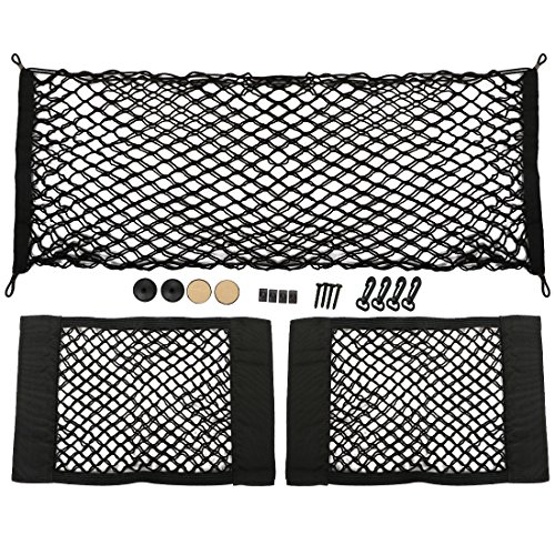 kilofly 3pc Elastic Car Rear Trunk Cargo Net Mesh Storage Pocket Organizers Set