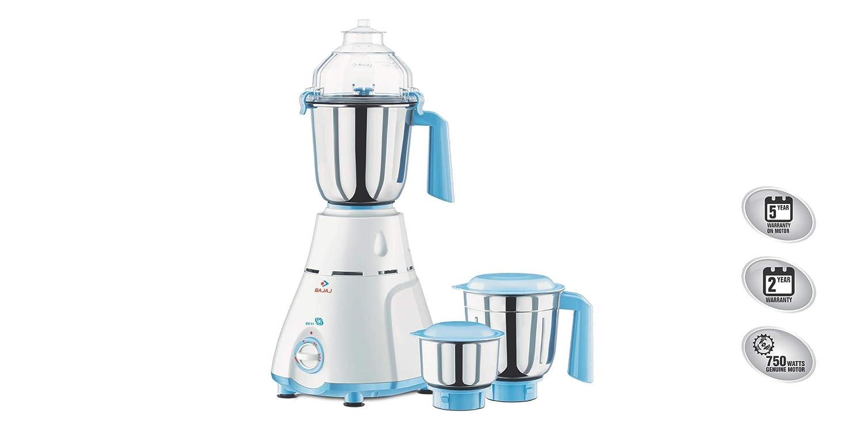 Bajaj GX 11 750-Watt Mixer Grinder with 3 Jars (White/Blue)