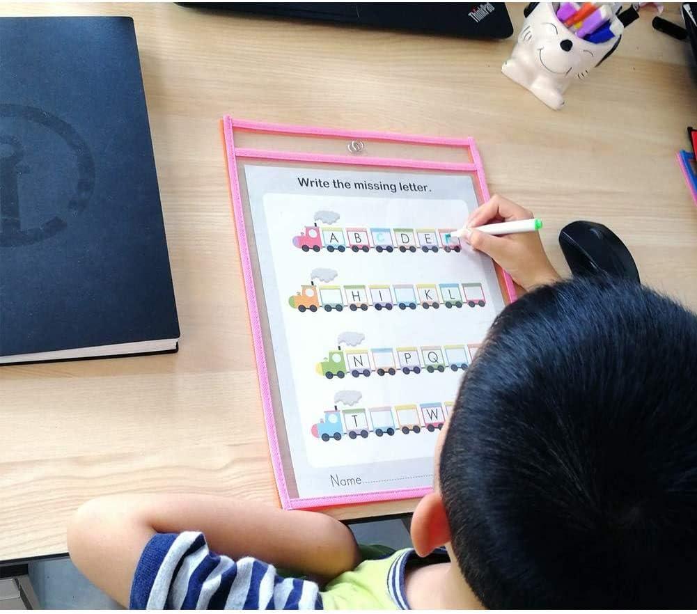 10pcs Resuable Dry Erase Pocket Riutilizzabile la Protezione Tasche Pulite Forniture di Cartoleria per Office School 35.5/×25.5 cm