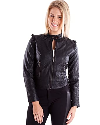 Ladies Black Synthetic Leather Biker Jacket 2 Button Neck at ...