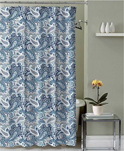 ige White Decorative Fabric Shower Curtain: Paisley Design (Blue Gray Marine)