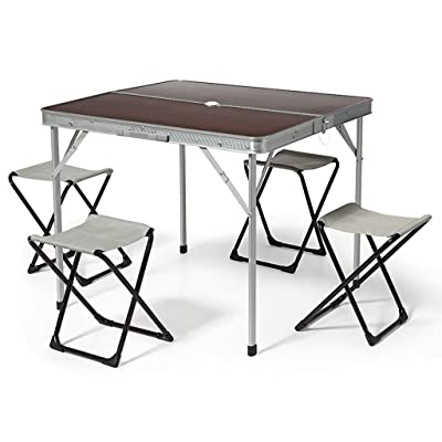 BERTONI 4x4 Ensemble table et 4 tabourets de camping en MDF, Marron/Aluminium, Taille unique