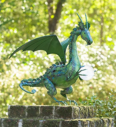 Green Metal Dragon Outdoor Garden Statue with Color-Changing Solar Pearl 20.5 W x 19.5 D x 23.25 H