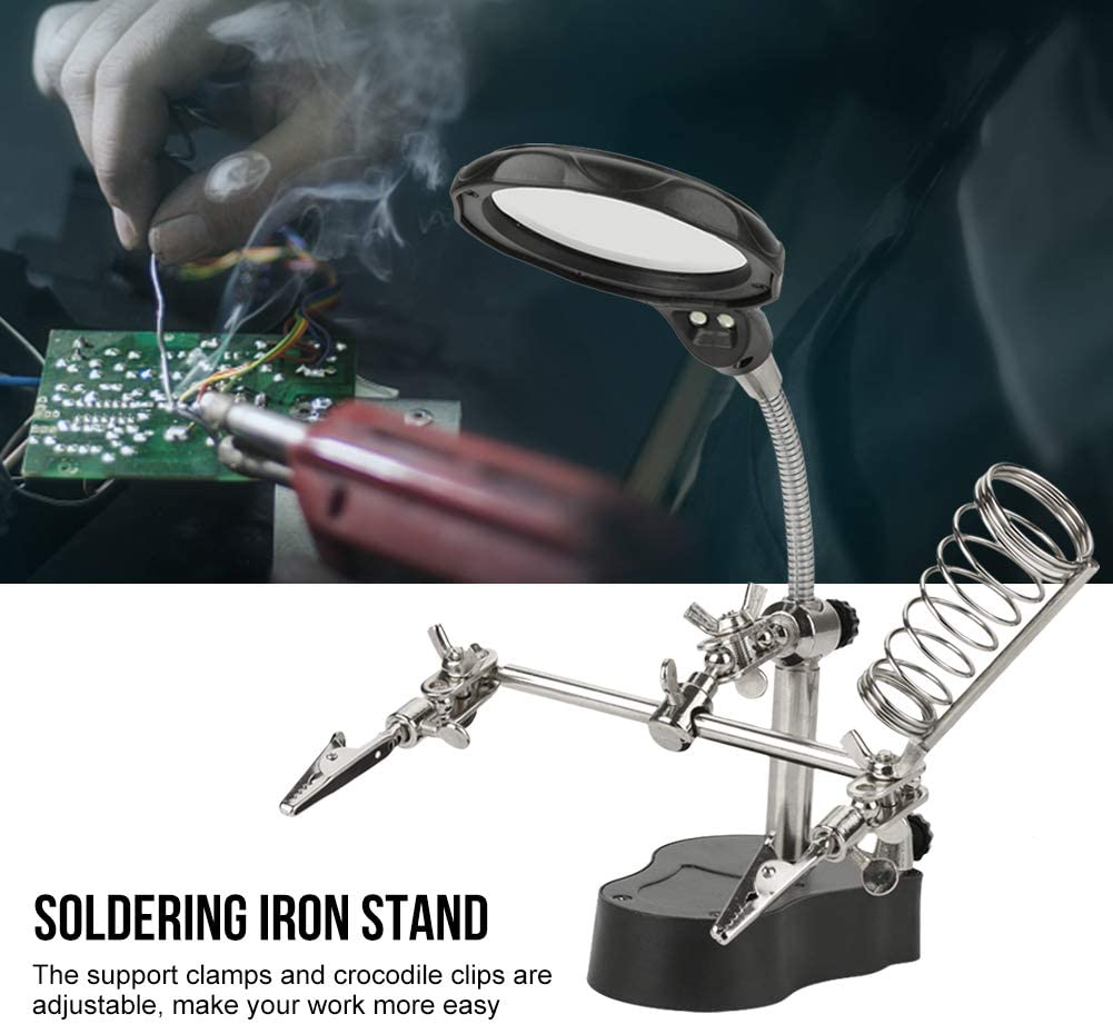 Helping Hand Auxiliary Clip Magnifying Soldering Iron Lens Magnifier LED Light Stand