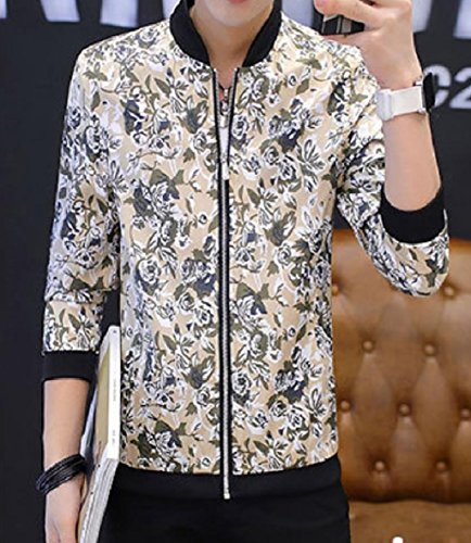 Stand Collar up XINHEO Jacket with Cozy Zips Men's College Khaki Printing qU4UIFEx