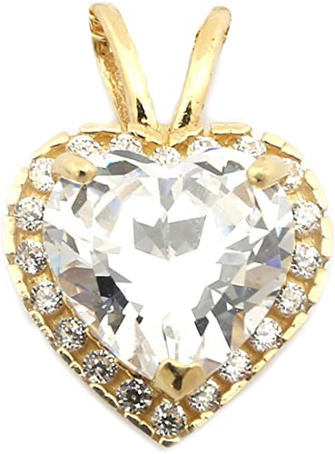 0.28 inch Stone Clear Silver Pendant with Cubic Zirconia Pendant Height 7 mm