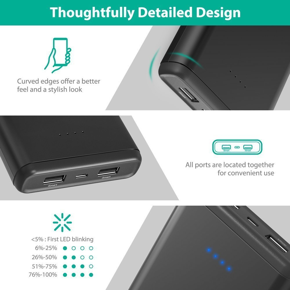 Portable Chargers RAVPower 20000mAh USB Battery Pack with Dual iSmart 2.0 USB Ports, 3.4A Max Output, 2.4A Input Power Bank for iPhone, iPad, Galaxy, and Android Devices by RAVPower (Image #5)