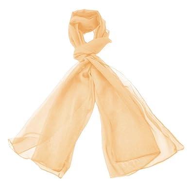 b80310ba0fc7 Classique Uni en mousseline de soie Écharpe Poids léger et doux Transparent  Semi opaque Tissu 47