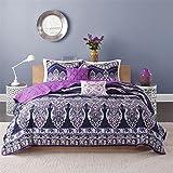 Intelligent Design ID80-476 Adley Coverlet Set Twin/Twin X-Large Purple,Twin/XL