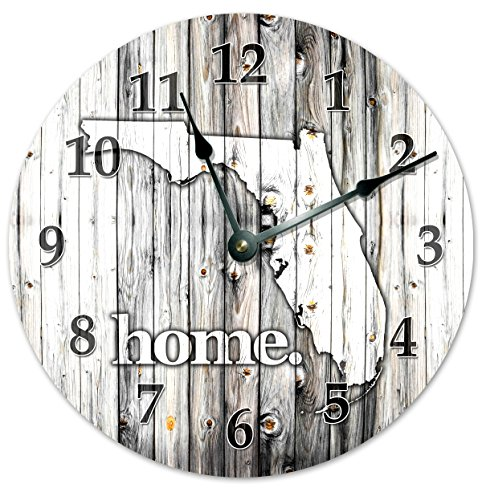 FLORIDA STATE HOME CLOCK Black and White Rustic Clock - Large 10.5' Wall Clock