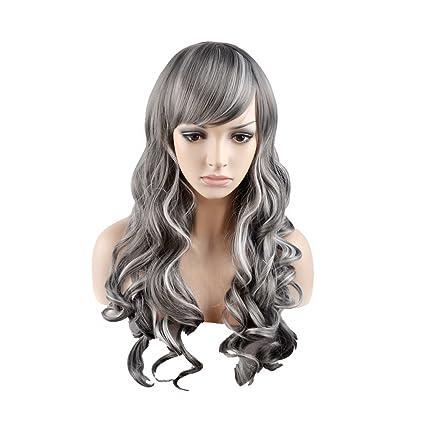 OUO peluca de pelo peluca de moda largo pelo rizado gris sintético de alta temperatura peluca