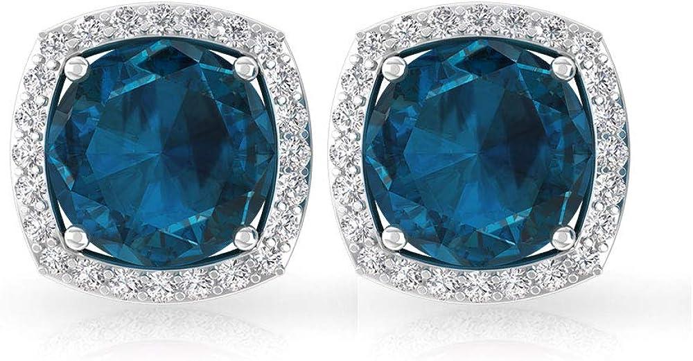 Pendiente de diamante certificado IGI con topacio azul Londres de 1,98 ct, piedra natal de diciembre, aniversario de boda, declaración nupcial, idea de regalo, tornillo hacia atrás