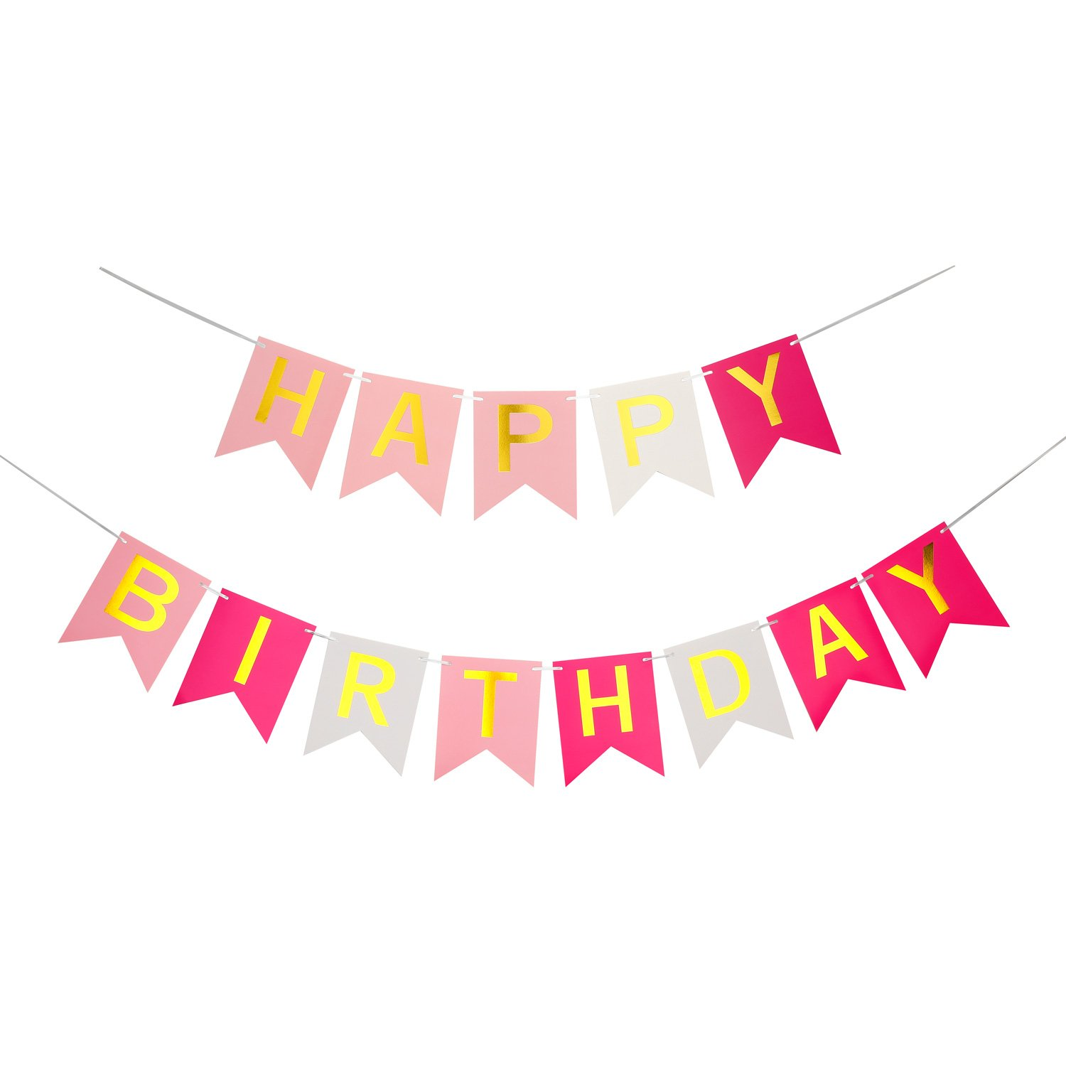Happy Birthday Banner, Party Decorations, Versatile, Beautiful, Swallowtail Bunting Flag Garland, Chic Pink&Rose&Gold)