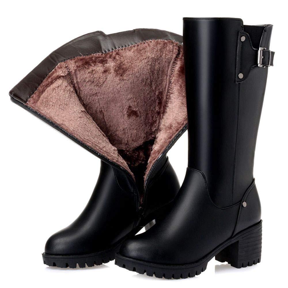 YSFU Stiefel Damen Stiefeletten Damen Stiefel Futter Verdickung Schuhe Schneeschuhe Martin Stiefel In Den Stiefeln