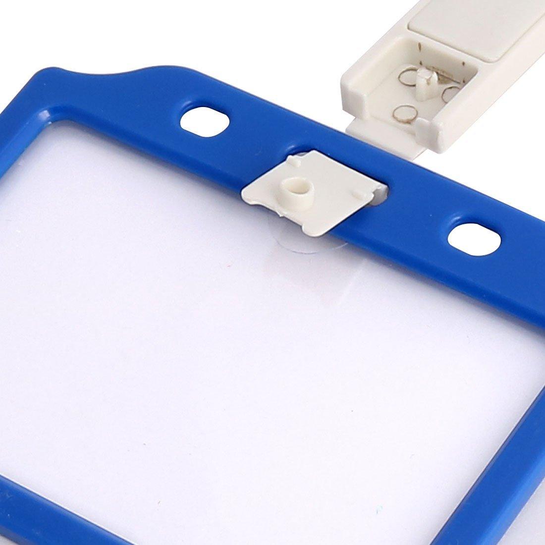 DealMux Plastic Horizontal Office School Name Tag Card Holder 10 Pcs Orange Blue