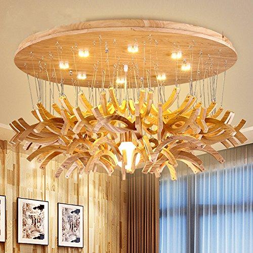YMXJB Moderne LED hölzerne Decke Licht Anhänger Kronleuchter Dekor perfekt für Flur Treppe Schlafzimmer Esszimmer dekorative Lichter Durchmesser: 60 cm