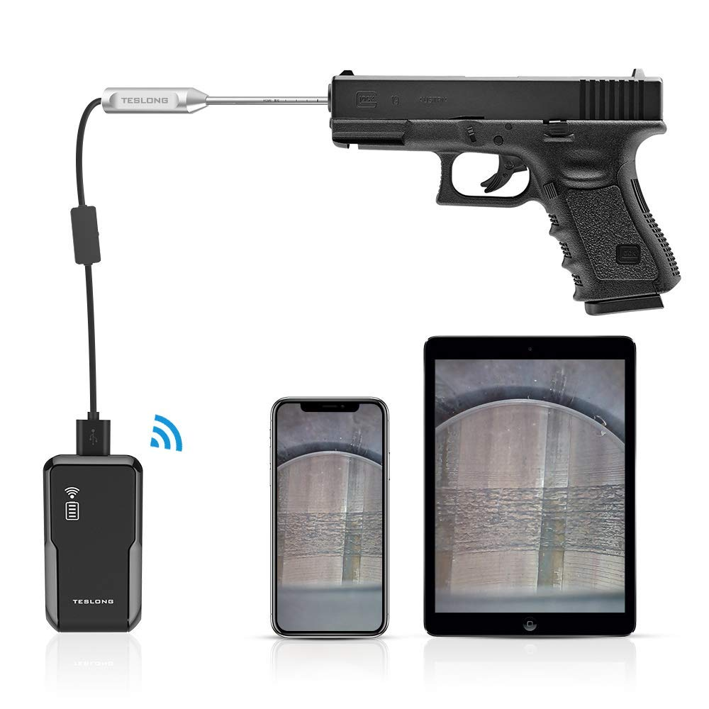 Pistol Borescope for iPhone, Teslong WiFi Version Handgun Barrel Bore Scope Camera, fit for 0.2inch Caliber and Larger, Works with iPhone iPad Android Windows MacBook(with WiFi Adapter Box)