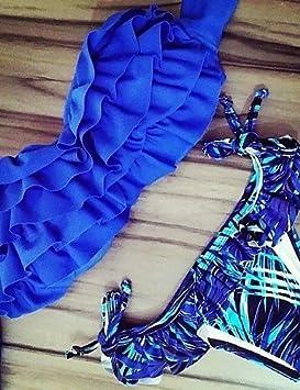 BO@De las mujeres Bikini-Volantes Sujetador Acolchado-Bandeau-Raso / Espándex , blue-l , blue-l: Amazon.es: Deportes y aire libre