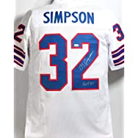 $165 » O. J. Simpson Autographed White Pro Style Jersey w/HOF - JSA W Auth MB2