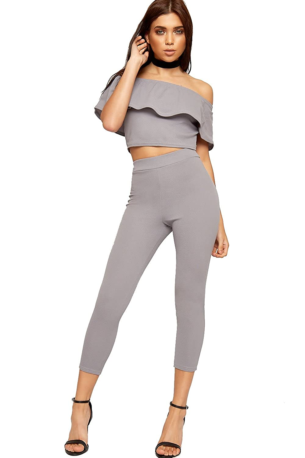 43f00e35b0a02c WearAll Women s Gypsy Co-ord Twin Suit Ladies Crop Top Leggings Bardot Off  Shoulder New 6-14  Amazon.co.uk  Clothing