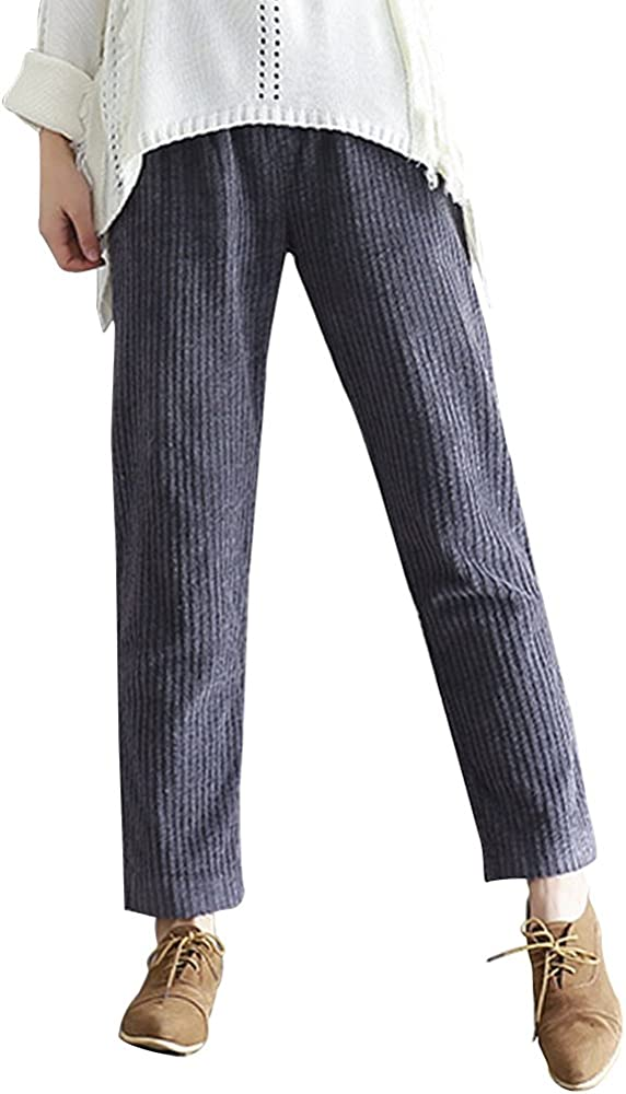 OCHENTA Lazo Pana Pantalones Casual Pantalones con Bolsillos de Pantalón para Mujer EU M-3XL