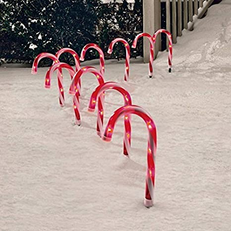 Com Candy Cane Pathway Markers Set Of 10 Christmas Indoor Outdoor Decoration Lights Garden