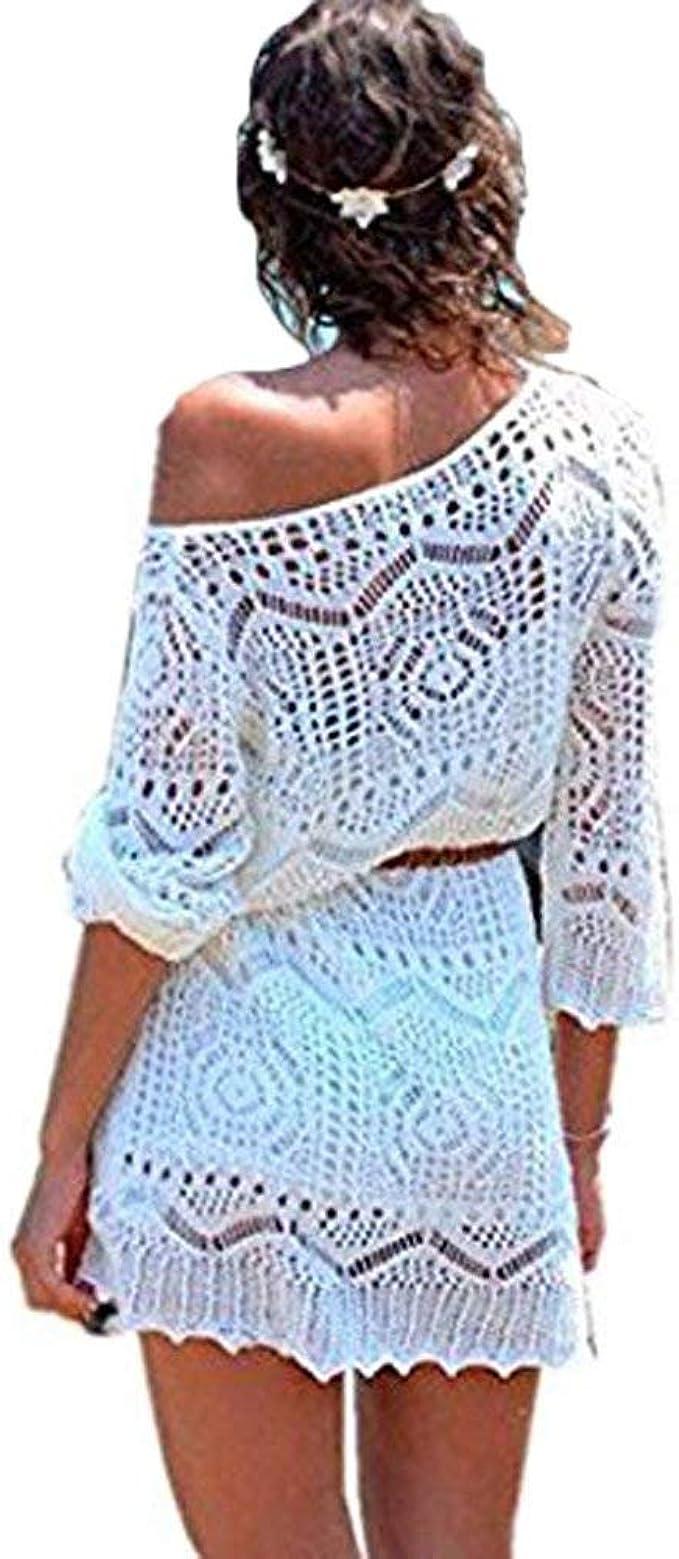 Minetom Mujer Epoca Floral Gancho Encaje Mini Vestido Elegante Bikini Cover Up Pareos Cubre Costumes de Baño Playa Camisa Bianco 42: Amazon.es: Ropa y accesorios