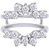 AFFY 1 Carat Round Sunburst Halo Ring Guard Enhancer in Sterling Silver with Cubic Zirconia